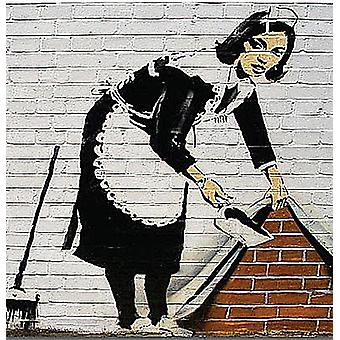 Banksy Maid Cleaning Wall drinks mat / coaster   (2f)