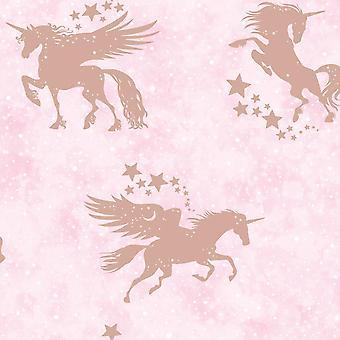 Kinderen ' s iriserende Unicorn wallpaper metallic Teal zilveren sterren Holden decor