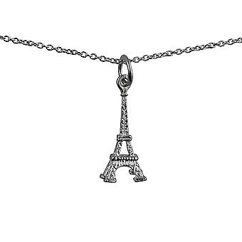 Silver 17x9mm Eiffel Tower Pendant with a rolo Chain 14 inches Only Suitable for Children