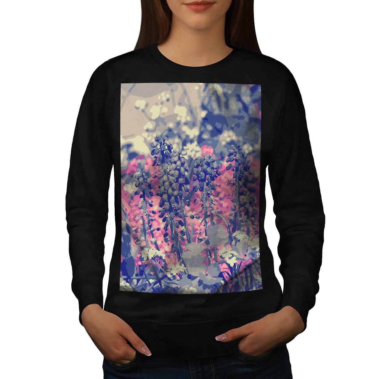Summer Fields Forever Wild Bloom Women Black Sweatshirt | Wellcoda