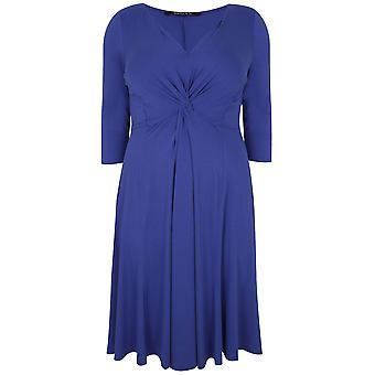 SCARLETT & JO blå Jersey Midi kjole med knude Front detaljer