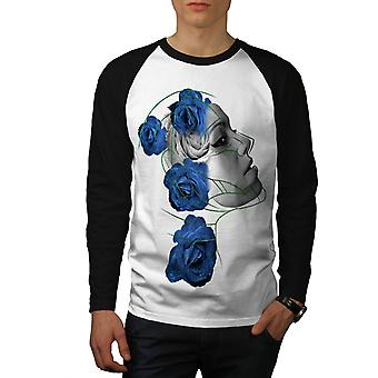 Face Blue Rose Fantasy Men White (Black Sleeves) Baseball LS T-shirt | Wellcoda