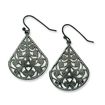 Black-plated Filigree Dangle Earrings - 3.0 Grams