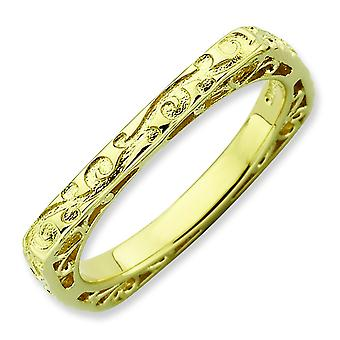 2.25mm Sterling Silver Stackable Expressions Polished Gold-plate Square Ring - Ring Size: 5 to 10