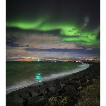 Aurora Borealis or Northern Lights Reykjavik Iceland Poster Print