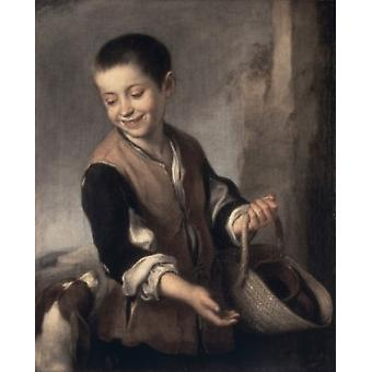 Boy with a Dog  1655-1660 Bartolome Esteban Murillo  Oil on canvas  Spanish Hermitage Museum St Petersburg Poster Print