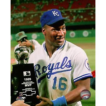Bo Jackson with All-Star Game MVP Trophy Photo Print