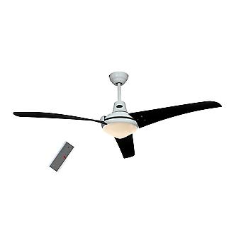 "CasaFan ceiling fan MIRAGE white 142 cm / 56"" with light and remote control blades black"