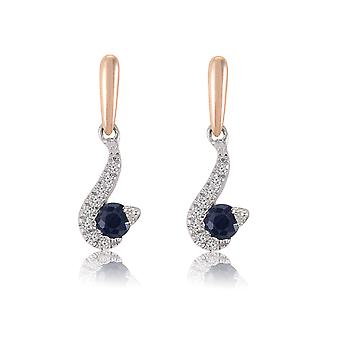 10K White Gold Diamond And Sapphire Earrings (0.02 Cttw, G-H Color, I2-I3 Clarity)