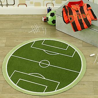 Velour kids rug football field green around 100 cm | 102301
