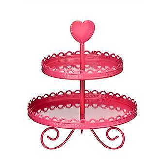 Soporte de la torta de Tier 2 de esmalte de color de rosa caliente