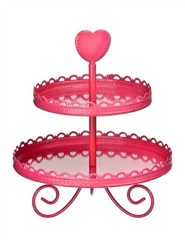 Hot Pink Enamel 2 Tier Cake Stand