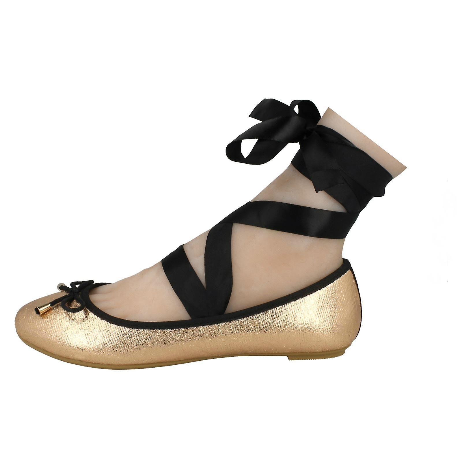 Damen-Spot auf binden Bein Ballerina Schuhe F80274