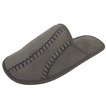Coolers Mens Stitch Detailed Microsuede Mule Slippers - Grey - 11-12 UK