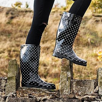 Spylovebuy Womens Black Spot Wellies Wellington Boots