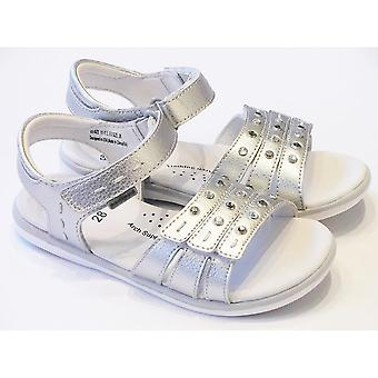Pediped Pediped Lynn Girls Silver Leather Sandals With Padded Sole