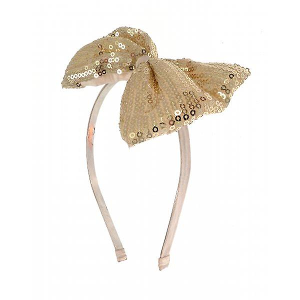 W.A.T Gold Sequined Bow Hairband