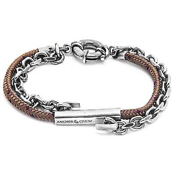Anchor and Crew Belfast Silver and Rope Bracelet - Brown
