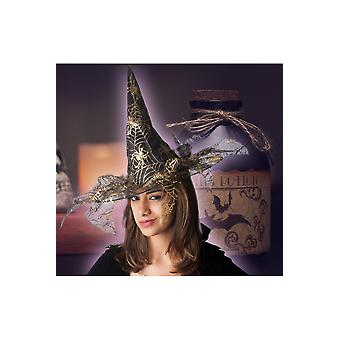 Halloween and horror  Golden witch hat with spider web print