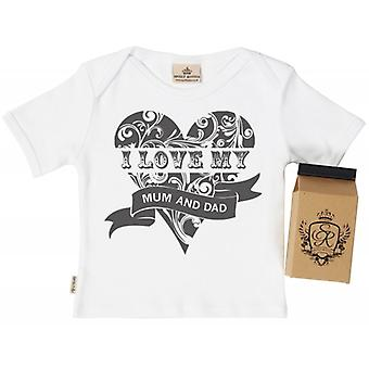 Spoilt Rotten I Love Mum & Dad Babys T-Shirt 100% Organic In Milk Carton