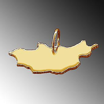 Trailers map of Mongolia pendant in solid 585 gold