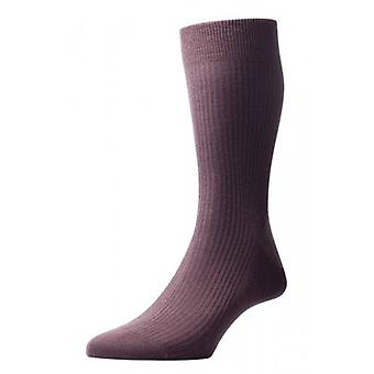 Pantherella Naish Rib Merino Wool Socks - Chocolate