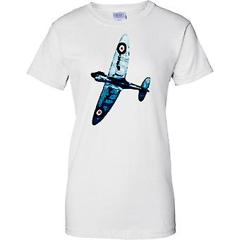 Spitfire Blue Colour - WW2 Fighter Aircraft - Ladies T Shirt