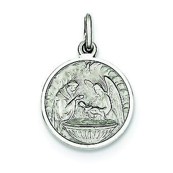 Argent sterling massif satiné poli Antique finish Engravable charme de médaille de baptême (uniquement)