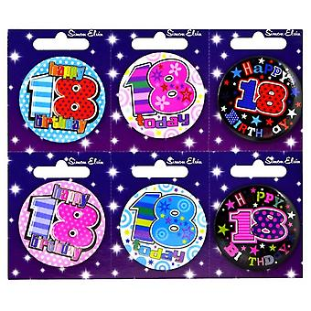 Simon Elvin 18th Birthday Small Badge (Pack Of 6)