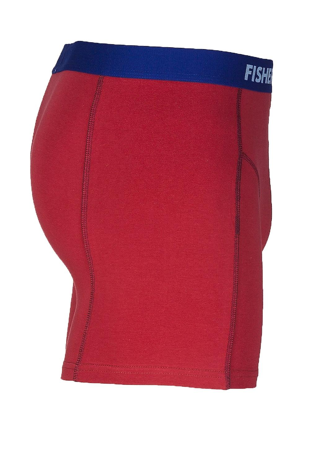 Fisher & Bennet Fisher And Bennet Mens Cotton Stretch Red Boxer Shorts