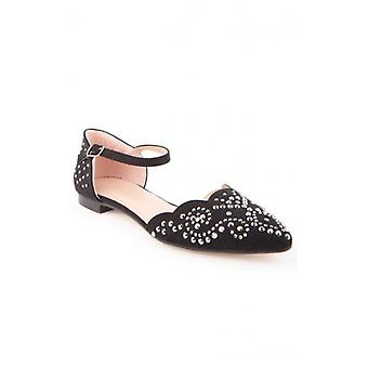 The Fashion Bible Embellished Flats In Black