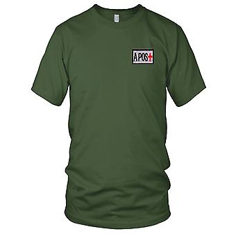 US Army - Blood Type A Positive Silver Embroidered Patch - Hook And Loop Kids T Shirt