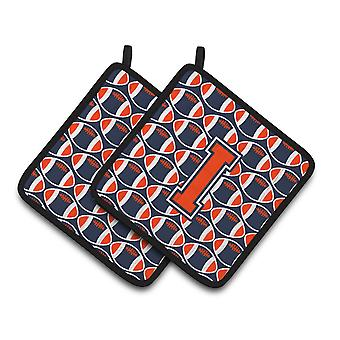 Letter I Football Orange, Blue and white Pair of Pot Holders