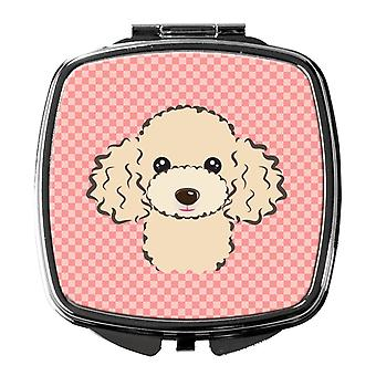 Carolines Treasures  BB1258SCM Checkerboard Pink Buff Poodle Compact Mirror