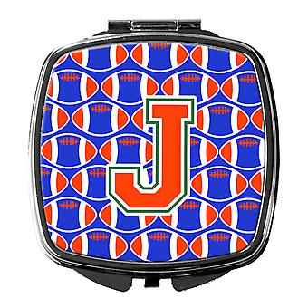 Letter J Football Green, Blue and Orange Compact Mirror