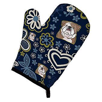 Carolines Treasures  BB5070OVMT Blue Flowers English Bulldog  Oven Mitt