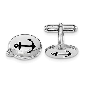 Black Anchor Enamel Oval Cuff Links in Sterling Silver with Rhodium Plating