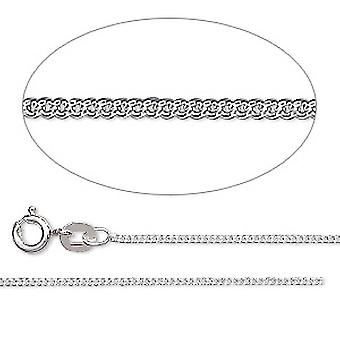 GEMSHINE 925 Silver necklace. 1.1 mm curb chain in a classic design with lengths from 40 to 51 cm