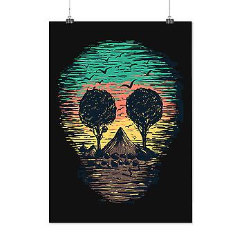 Matte or Glossy Poster with Nature Tree Birds Skull | Wellcoda | *d2372