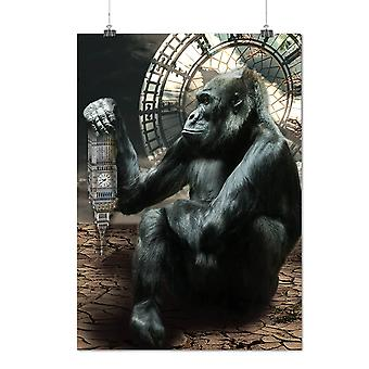 Matte or Glossy Poster with Big Ben Gorilla UK Animal | Wellcoda | *y764