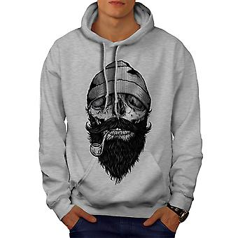 Smoke Beard Skull Men GreyHoodie | Wellcoda