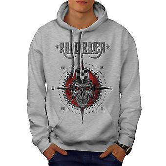 Demon Rider Evil Biker Men GreyHoodie | Wellcoda