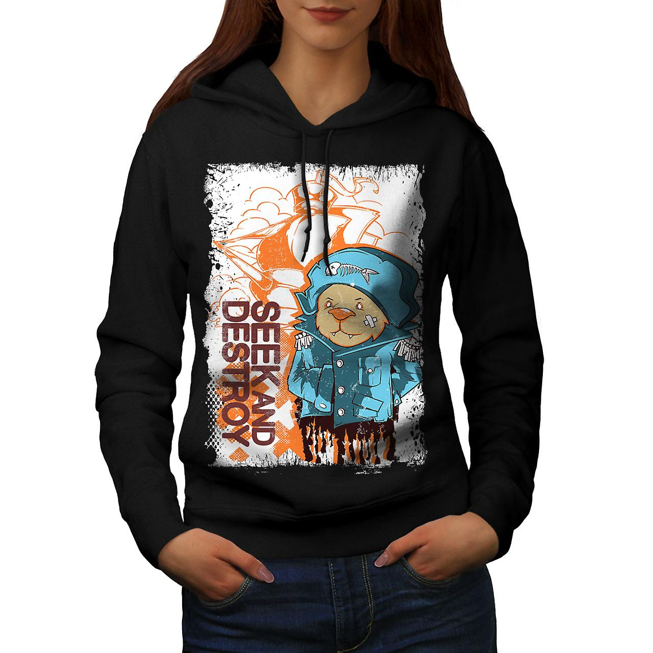 Seek Destroy Bear Animal Women Black Hoodie | Wellcoda