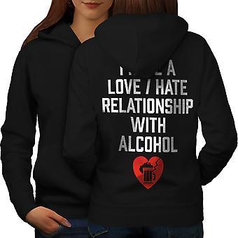 Love Hate Alcohol Funny Women BlackHoodie Back | Wellcoda