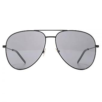 Saint Laurent Classic 11 Pilot Sunglasses In Black Silver Flash Mirror
