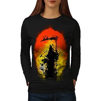 Cool Fantasy Grim Women BlackLong Sleeve T-shirt | Wellcoda