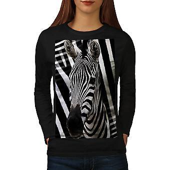 Zebra faccia carina donne animali BlackLong t-shirt | Wellcoda