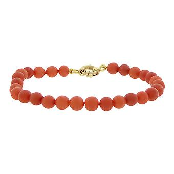 Red coral bracelet with gold lock