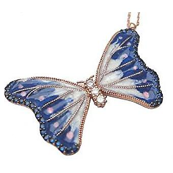 Blue butterfly enamel necklace 18 carat gold plated silver