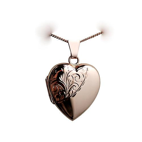9ct Rose Gold 22x19mm hand engraved heart shaped Locket with a curb Chain 16 inches Only Suitable for Children